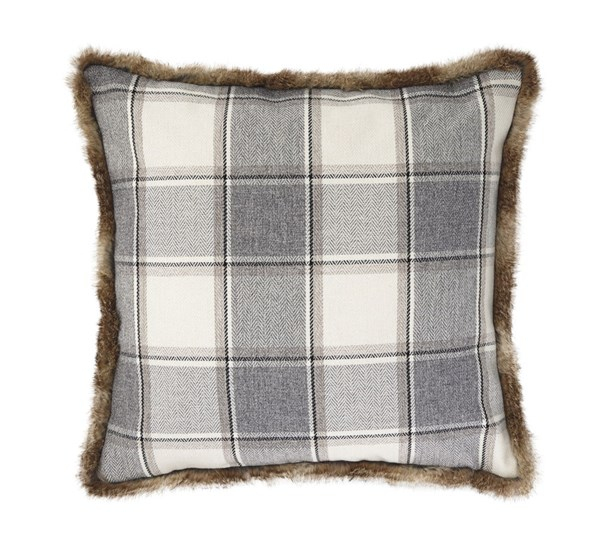 Smythe Casual Gray Poly Fabric Square Pillow A1000313P