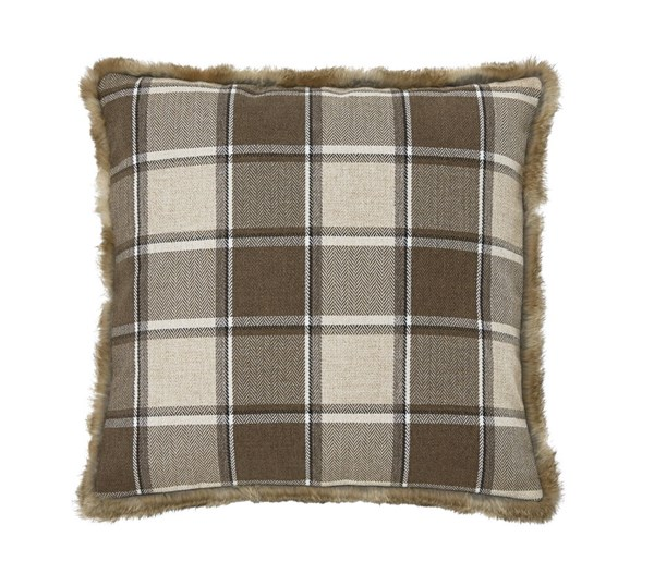 4 Smythe Casual Brown Down Fabric Pillows A1000314