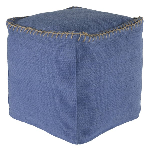 Caius Contemporary Periwinkle Fabric Pouf A1000320
