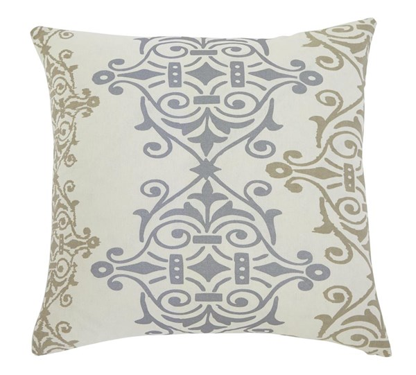 Scroll Transitional Gray Brown Fabric Pillow Cover A1000325P