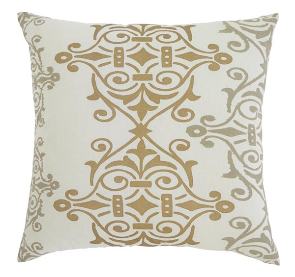Scroll Transitional Gray Brown Beige Fabric Pillows A10003-4S-PILO-VAR