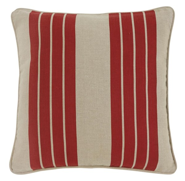 4 Striped Vintage Casual Red Square Pillow Covers A1000337