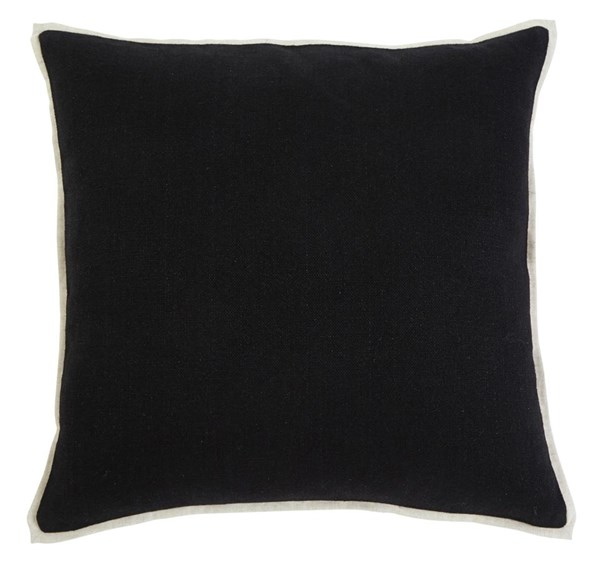4 Solid Vintage Casual Black Square Pillow Covers A1000344