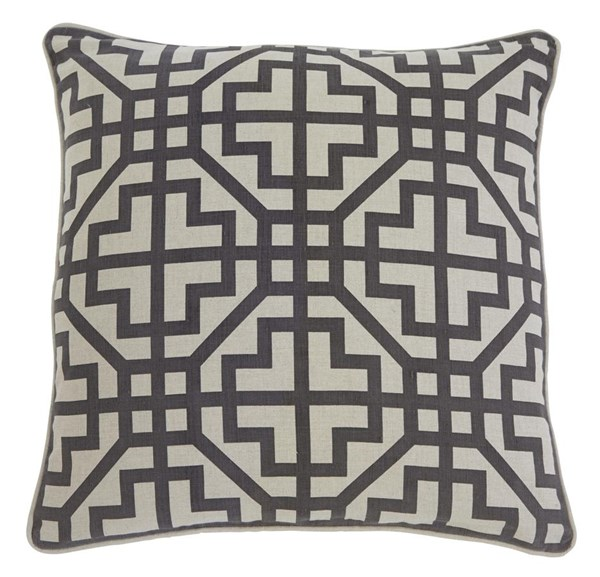 4 Geometric Vintage Casual Charcoal Cotton Pillow Covers A1000347