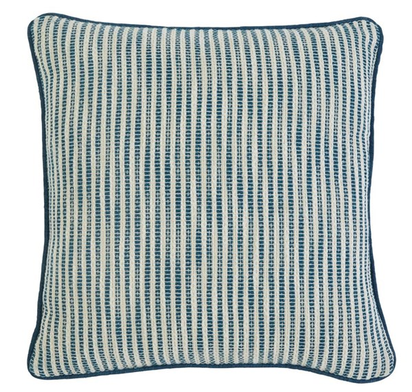 Striped Transitional Turquoise Square Pillow A1000363P