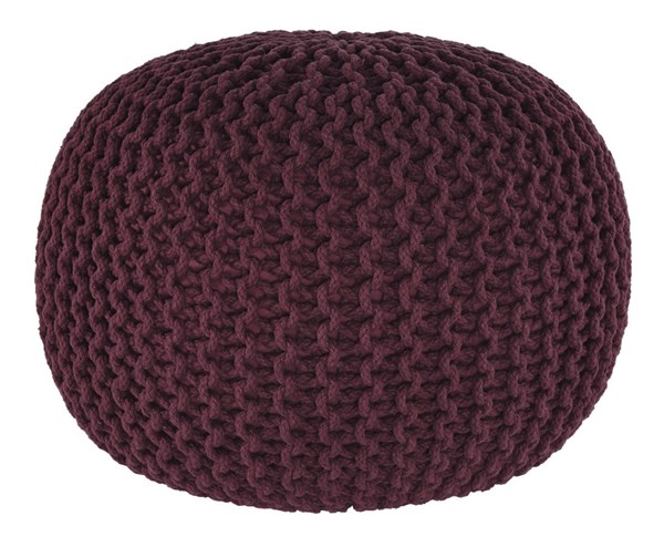 Nils Contemporary Maroon Fabric Square Pouf A1000372