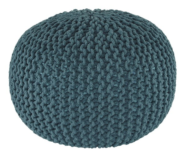 Nils Contemporary Teal Fabric Square Pouf A1000373