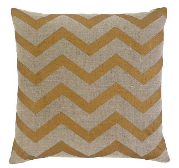 Chevron Transitional Gold Square Pillow Cover A1000374P