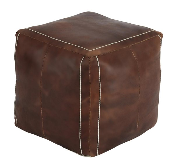 Vintage Vintage Casual Brown Leather Pouf A1000417