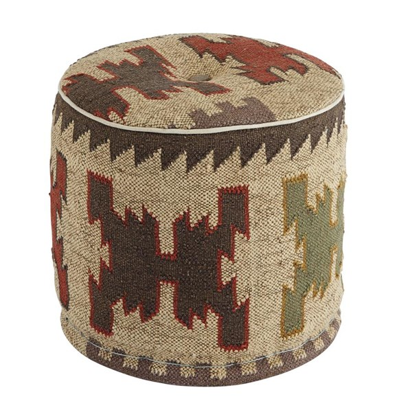 Patterned Vintage Casual Natural Cushion Pouf A1000421