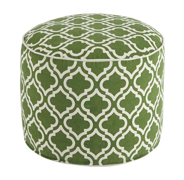 Geometric Traditional Classics Green White Pouf A1000426
