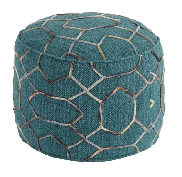 Overdyed Traditional Classics Dark Green Pouf A1000434