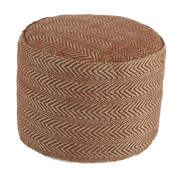 Chevron Vintage Casual Rust Cusion Round Pouf A1000439