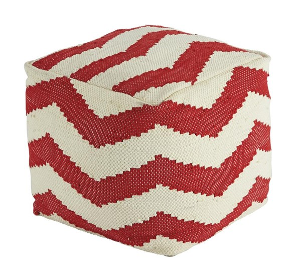Chevron Traditional Classics Red Fabric Pouf A1000442