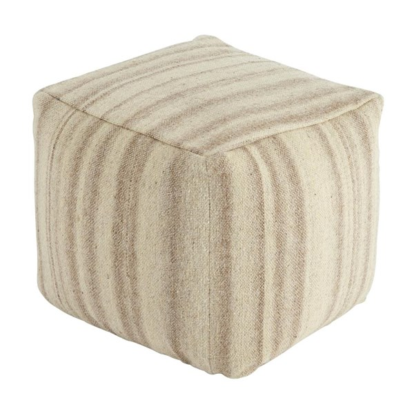 Striped Transitional Beige Square Cushion Pouf A1000446