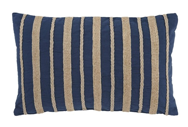 4 Zackery Transitional Blue Fabric Striped Pillows A1000520