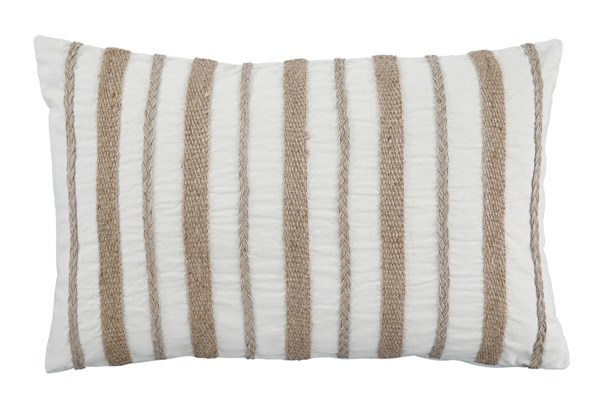 Zackery Transitional Natural Fabric Striped Pillow A1000522P