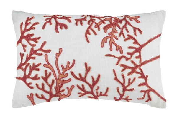 Cankton Transitional Coral Fabric Embroidered Pillow A1000533P