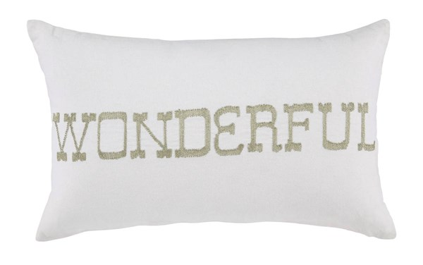 4 Phelan Youth White Fabric Scripted Pillows A1000536