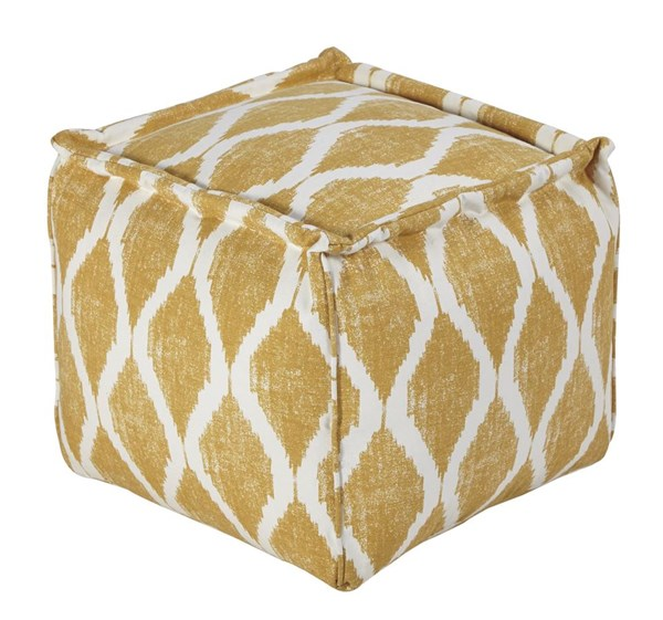 Bruce Contemporary Yellow White Fabric Pouf A1000547
