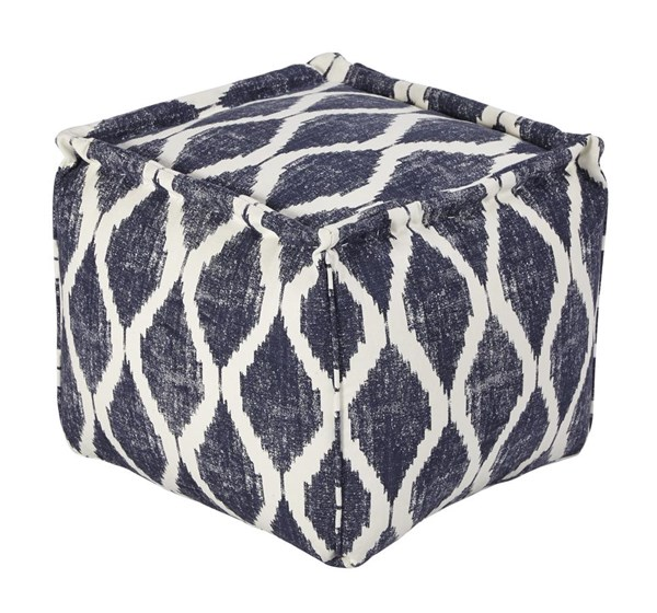 Bruce Contemporary Ink White Fabric Pouf A1000548