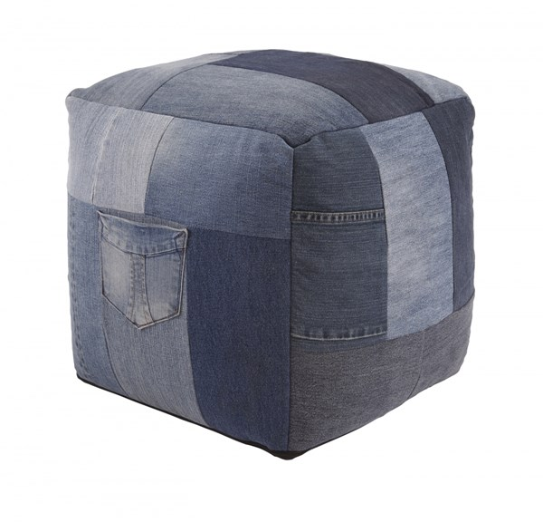 Aaden Casual Blue Fabric Square Pouf A1000549
