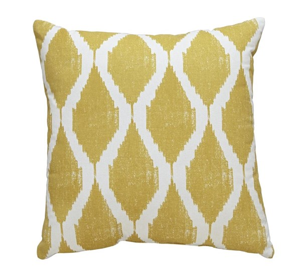 Bruce Contemporary Yellow Fabric Square Pillow A1000588P