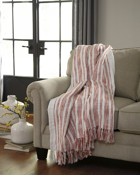 Callumn Vintage Casual Coral Fabric Striped Throw A1000628T
