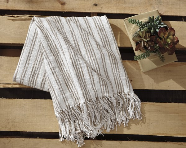 Callumn Vintage Casual Beige Fabric Striped Throw A1000629T