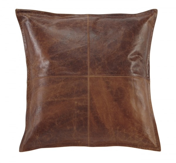 Brennen Transitional Brown Black Leather Fabric Pillow Cover (4/CS) BRENNEN-VAR1
