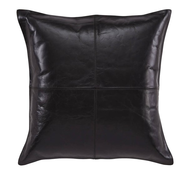 4 Brennen Transitional Black Leather Fabric Pillow Covers A1000638