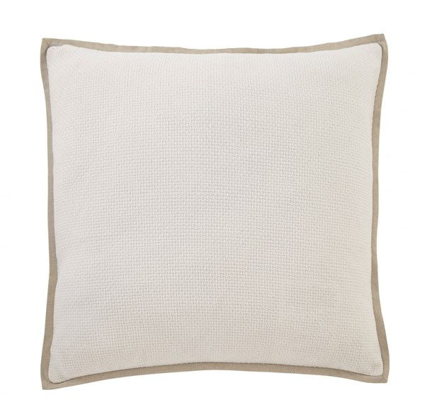 Dagger Transitional White Beige Fabric Pillow Cover A1000645P