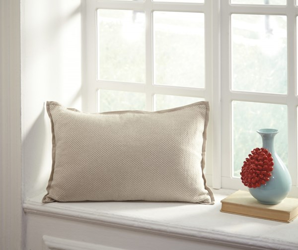 Leonie Transitional Natural Fabric Rectangle Pillow A1000648P