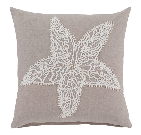 Anshel Transitional Natural Ivory Fabric Pillow Cover A1000657P
