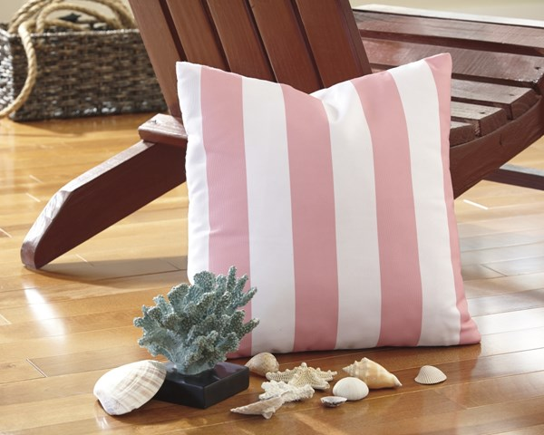 4 Hutto Youth White Pink Fabric Striped Pillows A1000685