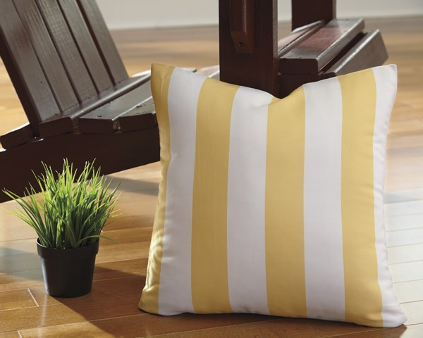 Hutto Youth Yellow White Fabric Striped Pillow A1000688P