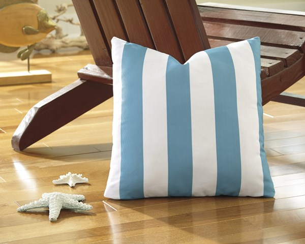 4 Hutto Youth Aqua White Fabric Striped Pillows A1000689