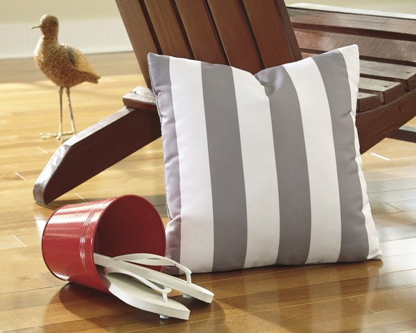 Hutto Youth Gray White Fabric Striped Pillow A1000690P