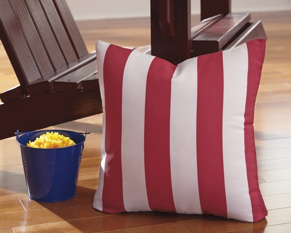 Hutto Youth Red White Fabric Striped Pillow A1000691P