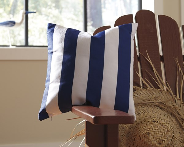 4 Hutto Youth White Navy Fabric Striped Pillows A1000692