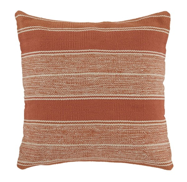 Biddleferd Contemporary Orange Fabric Striped Pillow Cover A1000698P