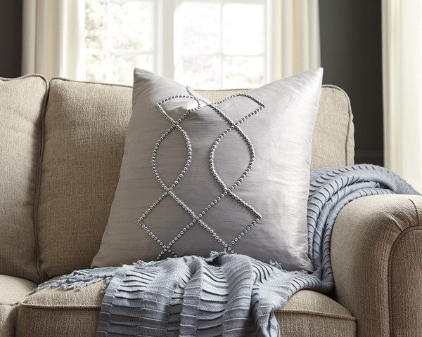 Stonbriar Silver Gray Polyester Square Pillow Covers A1000703-VAR