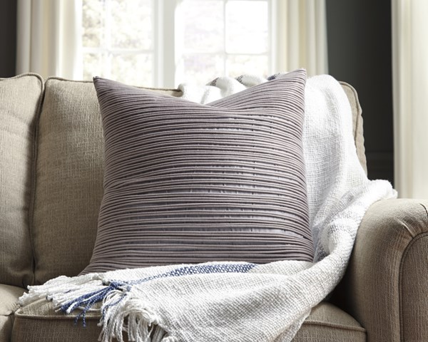 Lestyn Transitional Square Gray Square Pillow Cover A1000720P