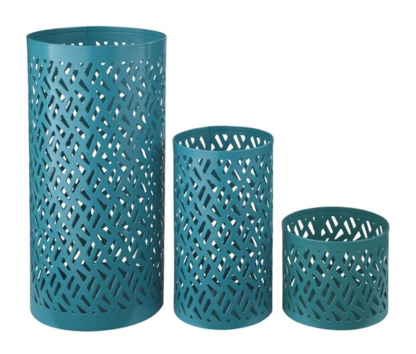 3 Caelan Contemporary Teal Metal Cylinder Candle Holders A2000156C