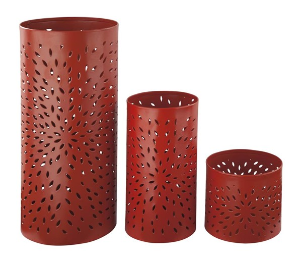 3 Caelan Contemporary Orange Candle Holders A2000158C
