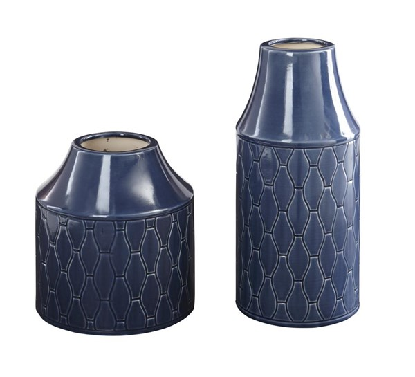 Caimbrie Contemporary Navy Vase (Set of 2) (2/CS) A2000160