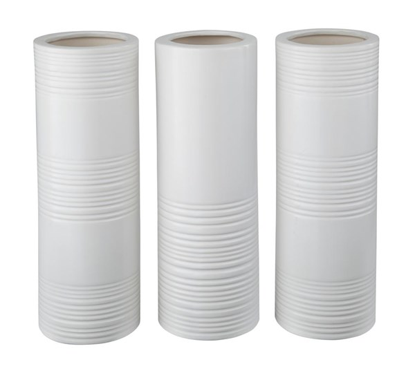 Daemyn Contemporary White Vase (Set of 3) (2/CS) A2000161