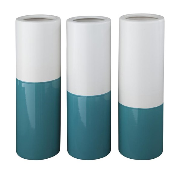 Dalal Contemporary Teal White Vase (Set of 3) (2/CS) A2000166