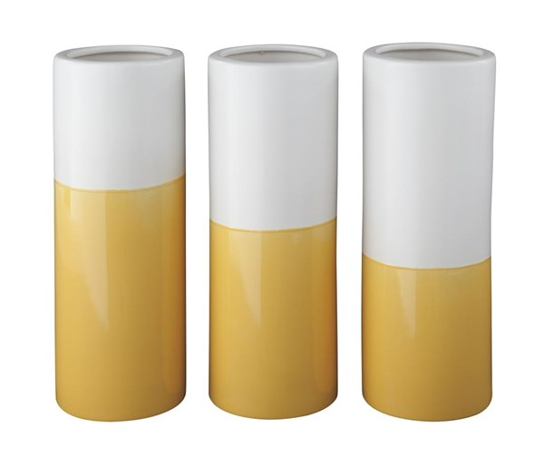 Dalal Contemporary Yellow White Vase (Set of 3) A2000167V