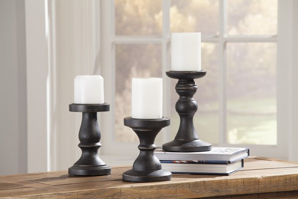 3 Kadience Cottage Black Wood Candle Holders A2000177C